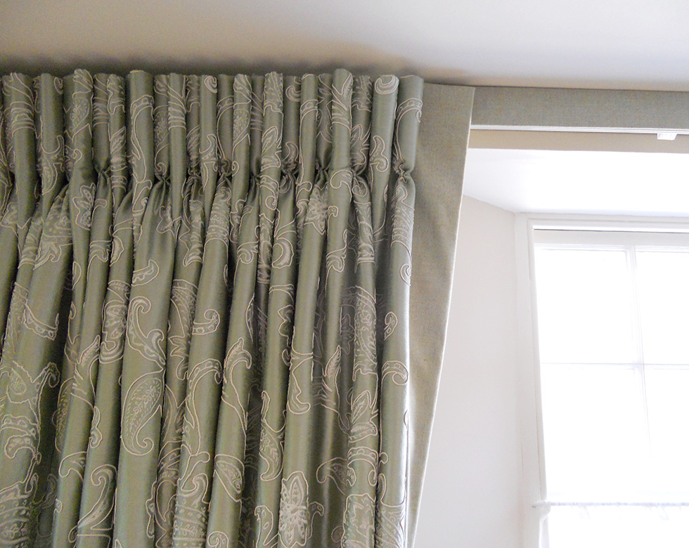 Curtains u2013 with hinged dormer rod and contrast fabric on inside : Fine Curtains